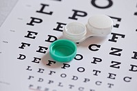 Contact lens case on eye chart