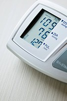 Close_up of readout from blood pressure monitor
