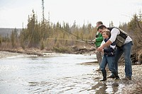Three generations of men out fishing