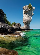Natural rock sculpture at Flowerpot Island, Fathom Five National Marine Park, Ontario, Canada