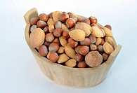 Wood basket full of nuts
