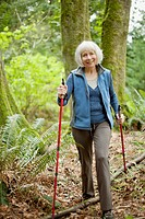 Attractive senior woman out walking