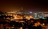 Night panorama of the city of Barcelona Spain