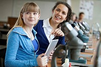 Teacher with student and microscopes