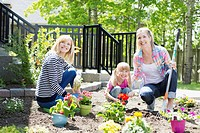 Three generations of women working on flower garden