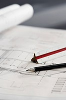 Pencil and ruler on blueprint (thumbnail)
