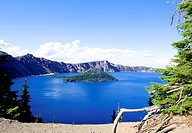 Deep blue Crater Lake of Oregon State, in the summer