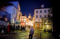 Paris, France, Street Scene, Old Buildings, at Night, with French Bakery Shop, Boulangerie, in Montmartre District