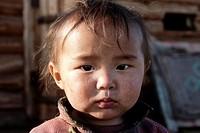 Portrait of a Mongolian baby, Tsagaanuur, Northern Mongolia