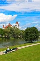 Ingolstadt, New Castle, Neues Schloss castle, Danube river, Upper Bavaria, Bavaria, Germany.