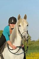 Young girl rider on horseback, Paso Fino mare, Bavaria, Germany, Europe