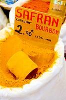 saffron, street market in Castellane, Provence, France