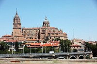 Panoramic view of the Cathedral and the bridge Tormes, Salamanca, Castilla y Leon, Spain, Europe