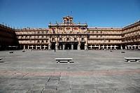 Panoramic view of the Plaza Mayor, Salamanca, Castilla y Leon, Spain, Europe
