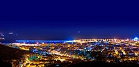 Aerial night in Santa Cruz de Tenerife at Canary Islands