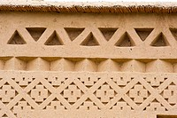 Traditional Berber ornaments, patterns, ornaments on a kasbah, mud brick fortress, Tighremt, Dades Valley, southern Morocco, Morocco, Africa