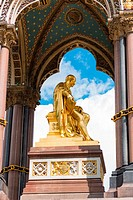 Central golden figure of Prince Albert at the Albert Memorial, London, England