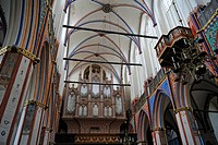 Organ, built in 1841 by Carl August Buchholz, prospect in the Gothic Revival style, decorative balcony for the trumpet choir, right, church of Sankt N...