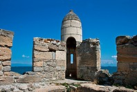 Ruins of ancient turkish fortress on sea coast in Kerch, Crimea