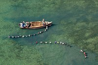 Aerial view, fishermen with boats and nets off the coast of Bagamoyo, Pwani Region, Tanzania, Africa