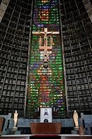 Interior of Metropolitan Cathedral, Catedral Metropolitana, altar and a crucifix, Rio de Janeiro, Brazil, South America