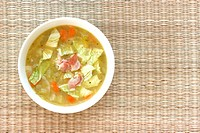 Vegetable cabbage soup in bowl