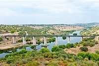 railway viaduct Guadiana River near Serpa, Alentejo, Portugal