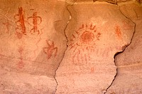 The WHITMORE PICTOGRAPHS are well preserved and a mile hike from the river at mile 187 _ GRAND CANYON NATIONAL PARK, ARIZONA