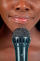 Close up of lips with microphone