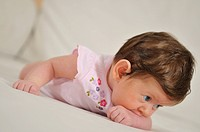 cute little baby indoor closeup portrait