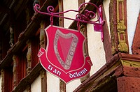 Keratry Mansion house, 16th c , Detail of shop sign, Old Town, Dinan, Brittany, Cotes d'Armor, France