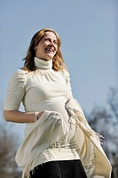 happy young pregnant womant have fun outdoor in nature at sunny day