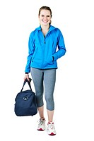Athletic girl with gym bag ready for workout