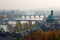 View from Letná Plateau, Moldau Bridges, Prague, Czech Republic