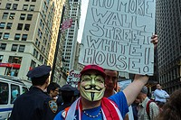 New York City, NY, USA, Protest, Occupy Wall Street, Anonymous Activists, with Mask, holding signs
