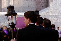 MEXICAN MAN with lantern during the EASTER PROCESSION _ SAN MIGUEL DE ALLENDE, MEXICO