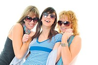 three woman isolated together smile