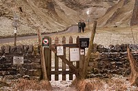 Walkers gateway to Winnats Pass, England, UK.