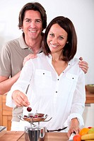 couple eating cherries
