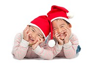 Christmas kids in Santa hat isolated on white background