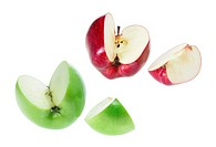Slices of Apples on White Background