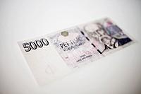 money, 5000 CZK, czech crown, banknote designed by Oldrich Kulhanek, savings, finance, Tomas Garrigue Masaryk, TGM CTK Photo/Martin Sterba