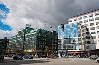 Post-war and 21st century office blocks along Vesterbrogade central Copenhagen Denmark Europe