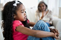 Sad African American girl