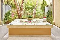 Outdoor bathtub at resort