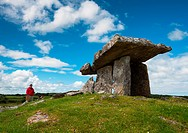 Tourists at Poulnabrone dolmen in the Burren area of County Clare, Republic of Ireland
