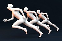 Three competing runners  3D rendered Illustration