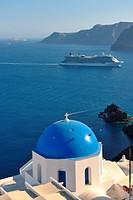 summer vacation on beautiful vulcanic island santorini at greece