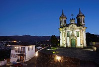 Sao Francisco of Assis Church at dusk, Ouro Preto UNESCO World Heritage Site, Minas Gerais, Brazil