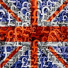 UK flag overlaid on mutiple pound currency symbols